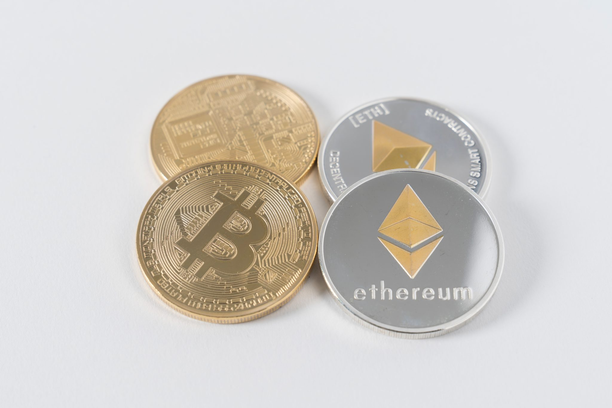 Cryptocurrency coins stacked together